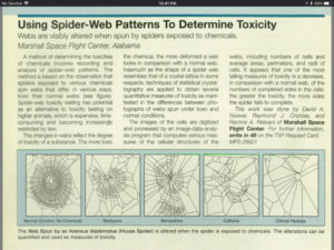 Using Spider-Web Patterns to Determine Toxcitiy